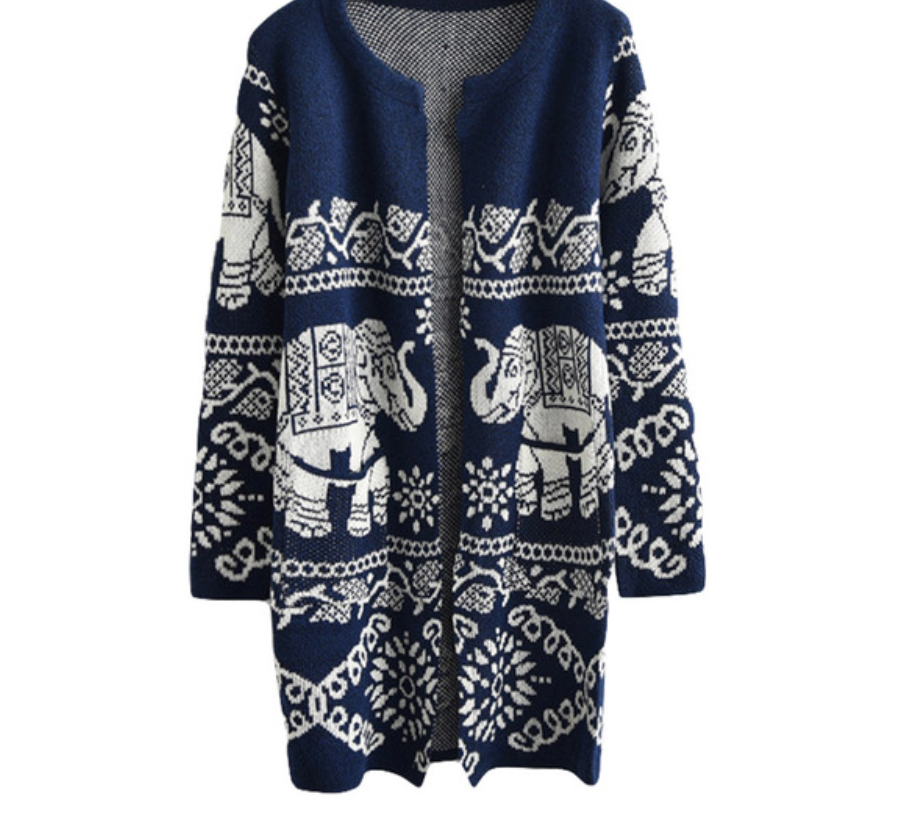 Long Cardigan With Elephant Printed