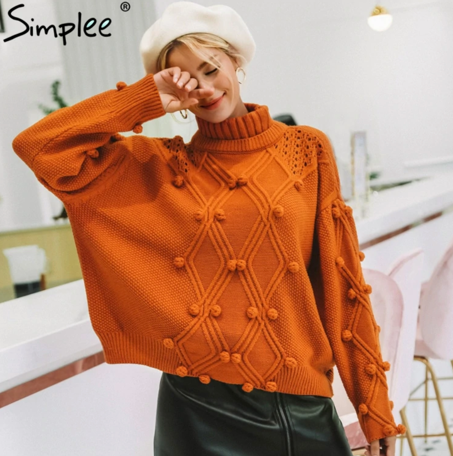 Pom Pom Turtleneck Sweater