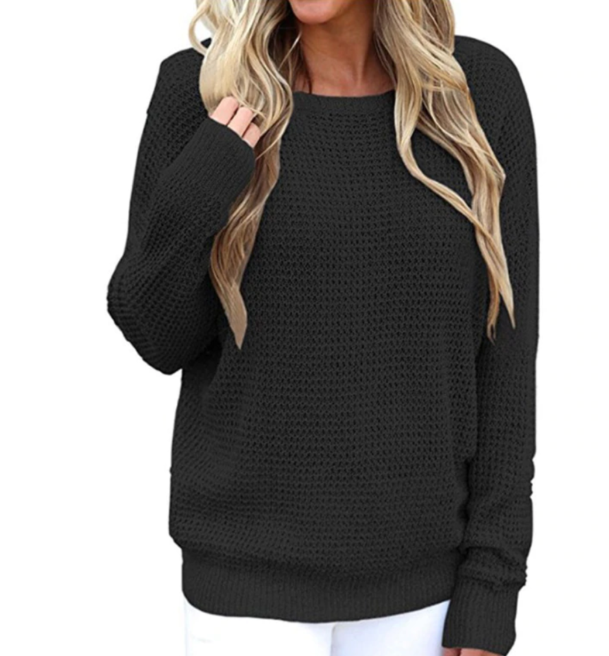 V Neck Strap back Long Sleeve Women Sweaters