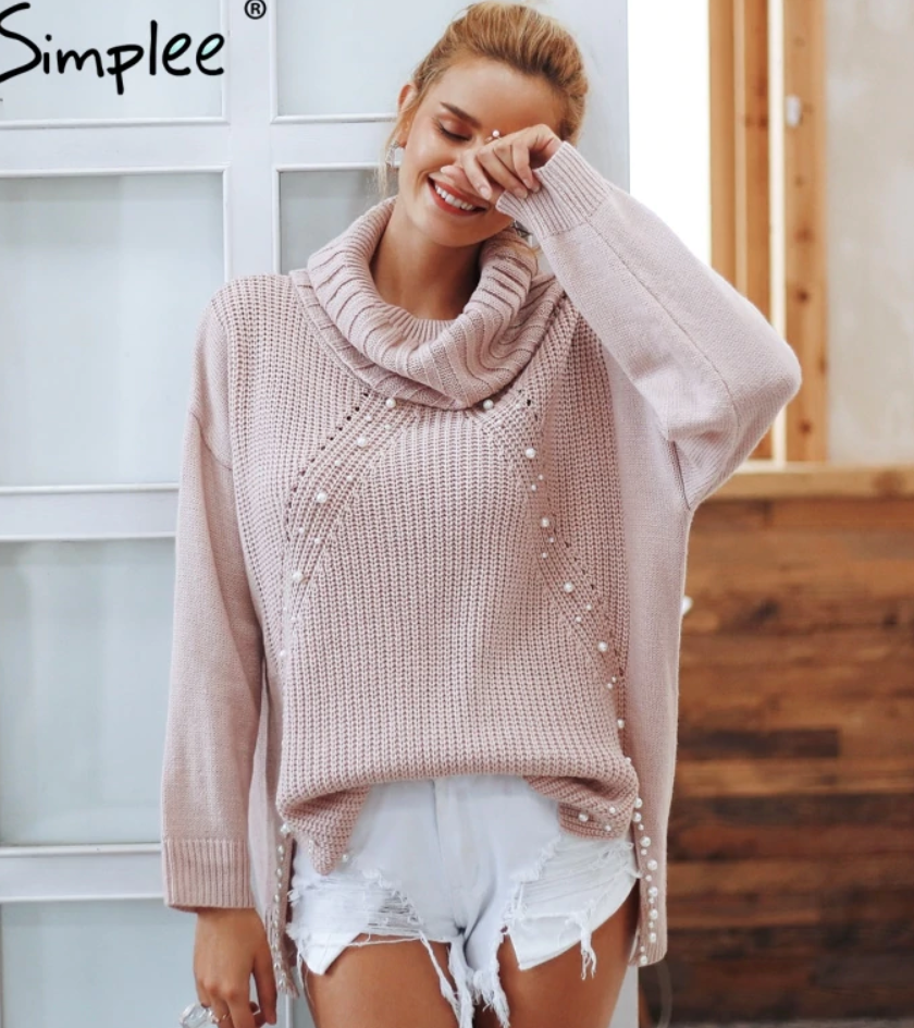 Beaded Turtleneck Sweater