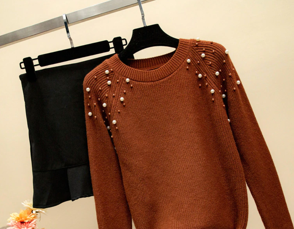 Shoulder Faux Pearl Beading Sweater