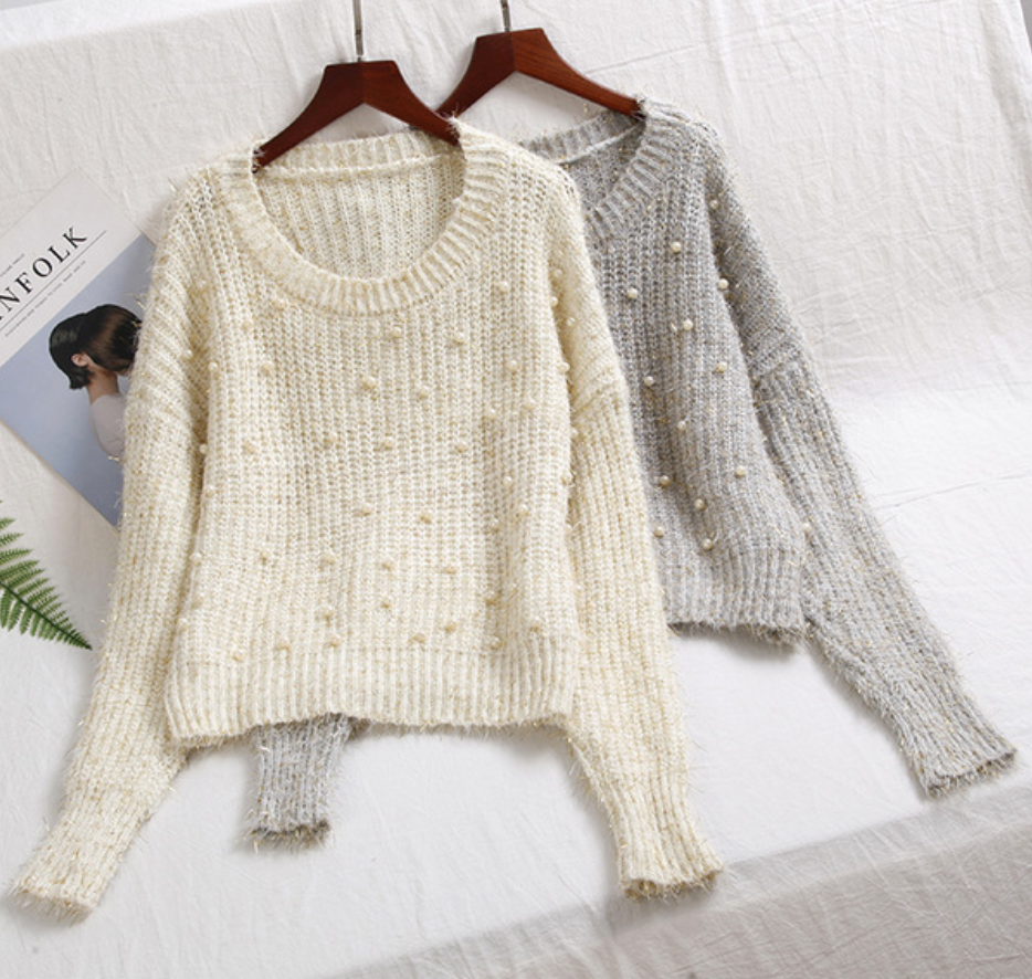 Pearls Beading Sweater