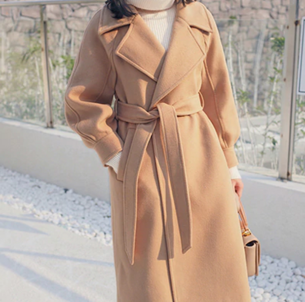 Turn-down Collar with adjustable belt wool coats