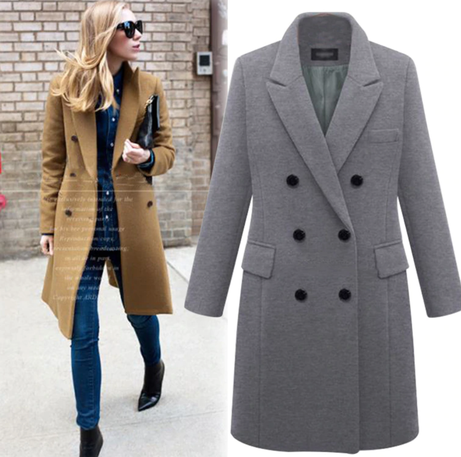 Plus Size! Wool Blend Long Coat