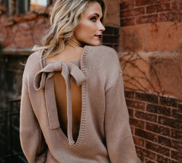 Backless Bow Tie Long Sleeve Sweater