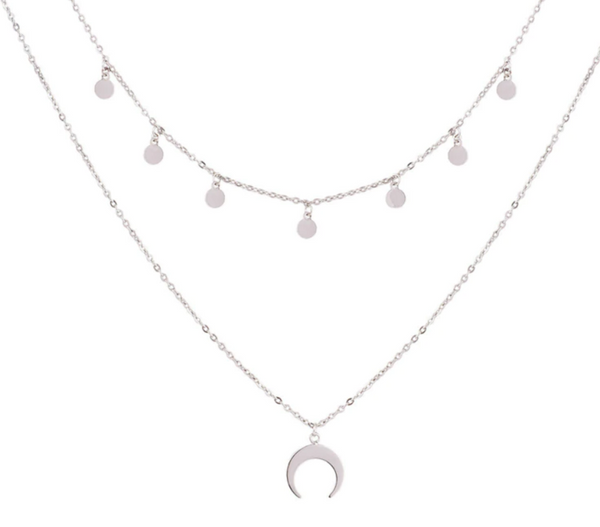 Multi-layer Wafer Moon Necklace