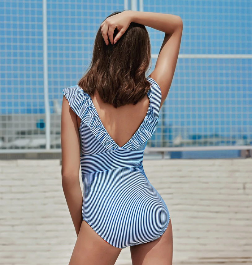 Retro V Neck Striped Swimsuit