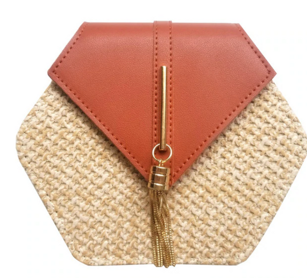 Hexagon Style Straw Handbag