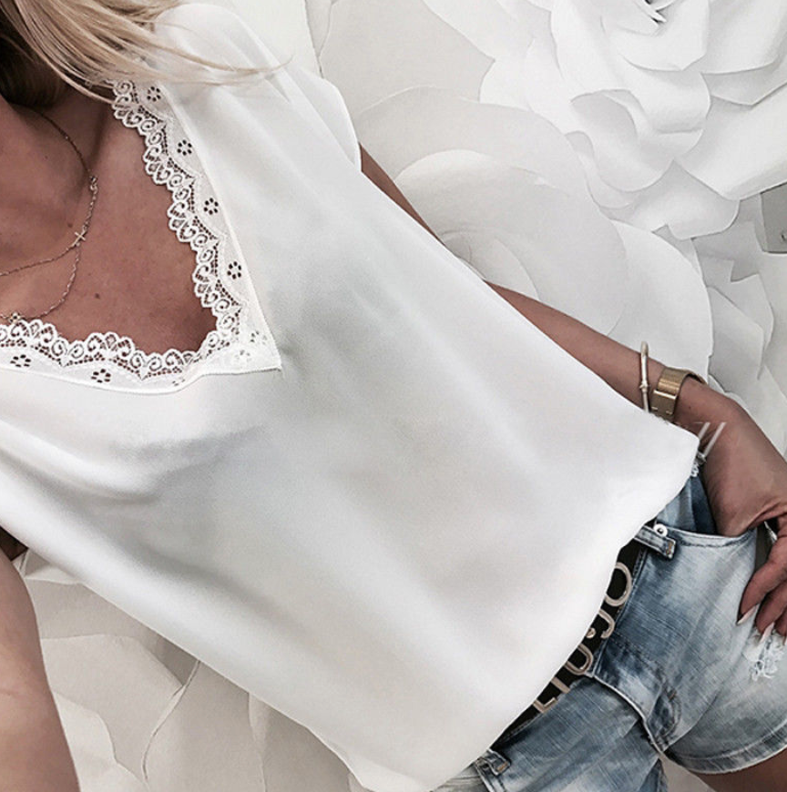 Casual Sleeveless Lace Summer Blouse