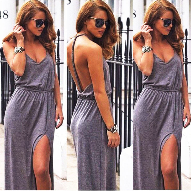 Backless V Neck Maxy Dress