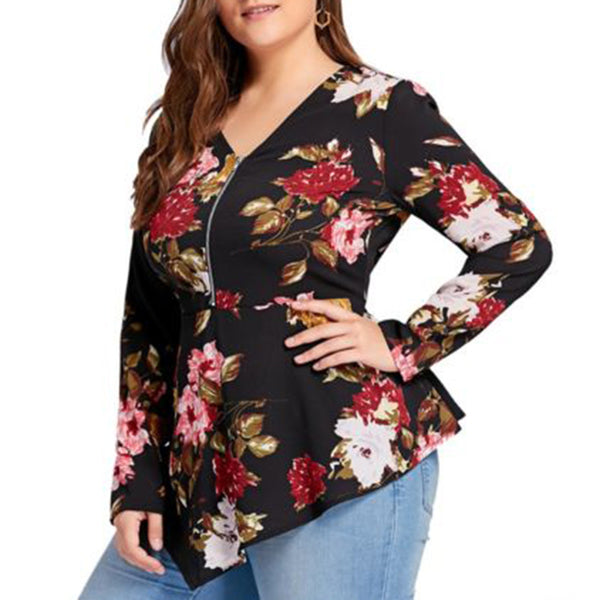 Zipper V-Neck Floral Printed Long Sleeve Chiffon Blouse