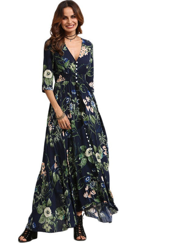 Quarter Sleeve Floral Dress