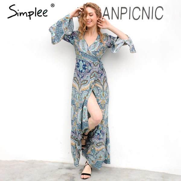 Boho Floral Print Chiffon Side Split Long Dress