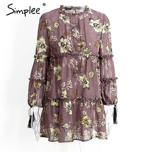 Chiffon Long Sleeve Boho Dress