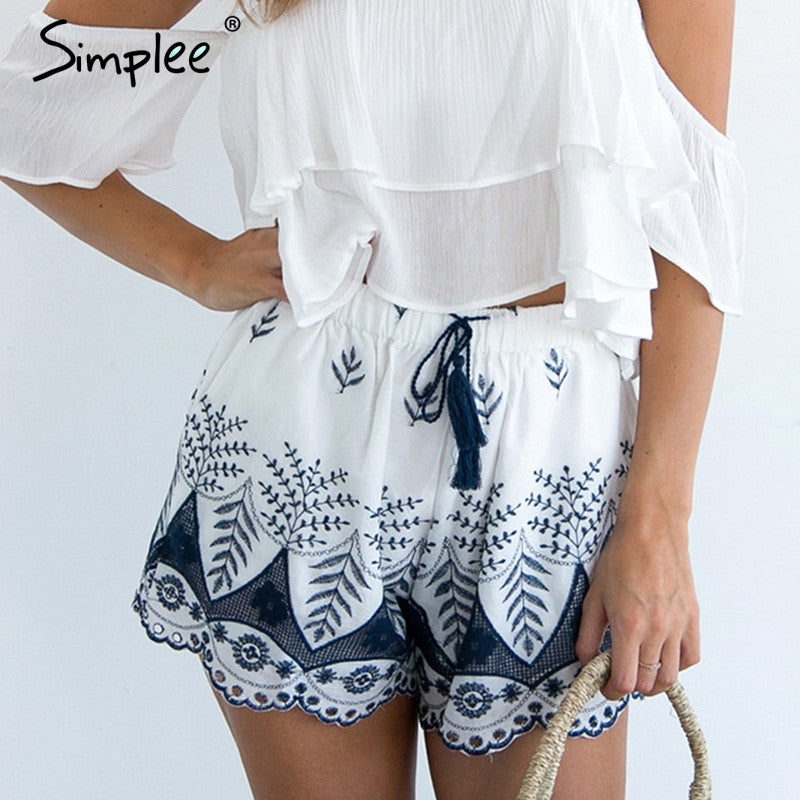 Embroidery Boho Beach Shorts