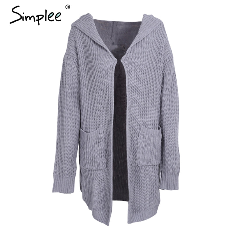 Hooded knitting long cardigan sweater