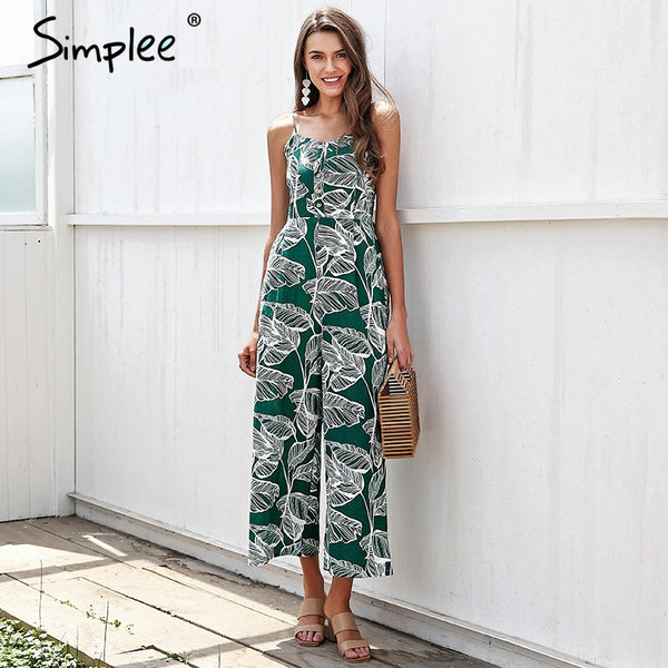 tropical Print Jumpsuit