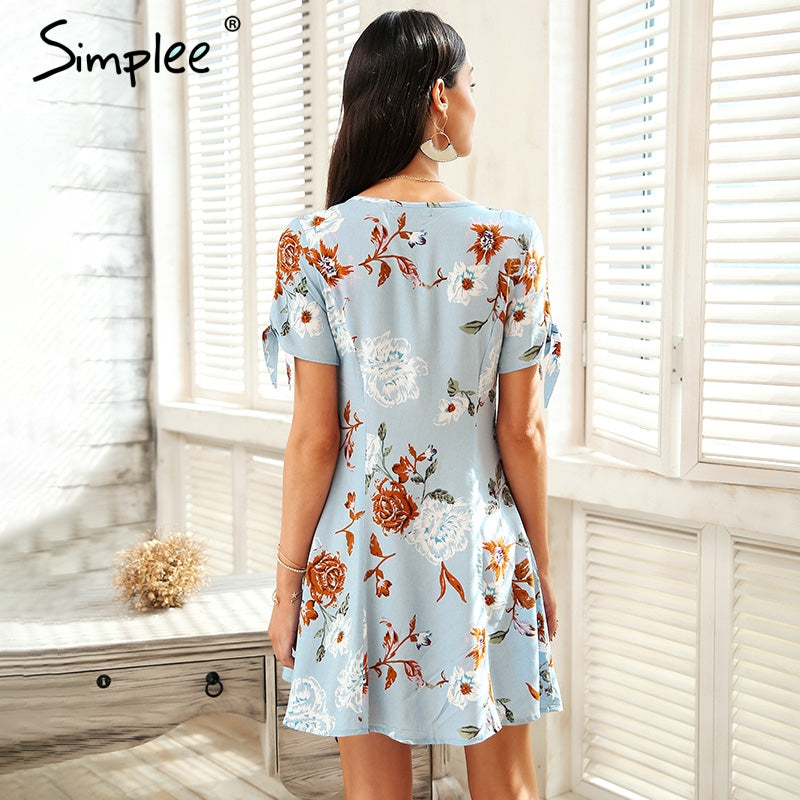 V Neck Button Summer Dress