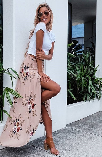 Floral Side Split Skirt