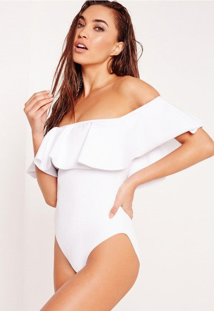 Best Seller! Off Shoulder Solid Swimsuit