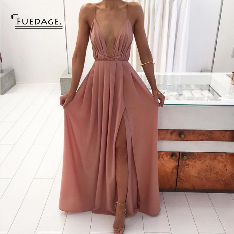Best Seller! V Neck Chiffon Open Back Dress