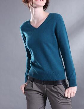 V Neck Long Sleeve Solid Sweaters