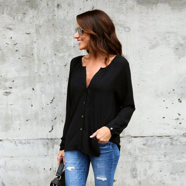 Solid Chiffon Blouses with Buttons