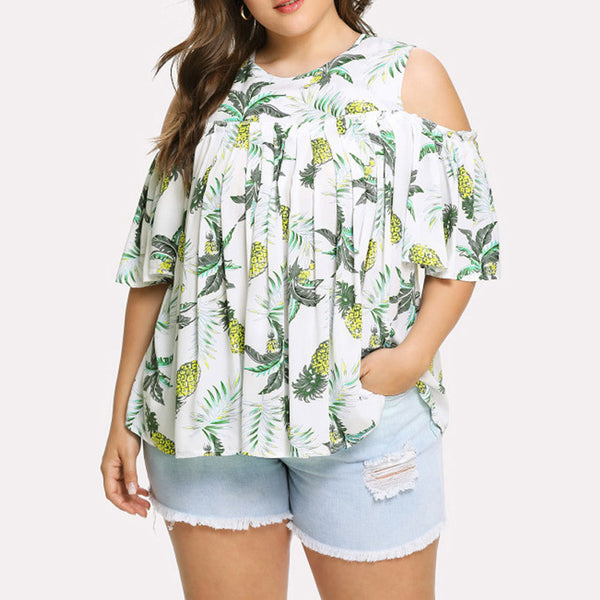Short Sleeve Pineapple Print  Blouse