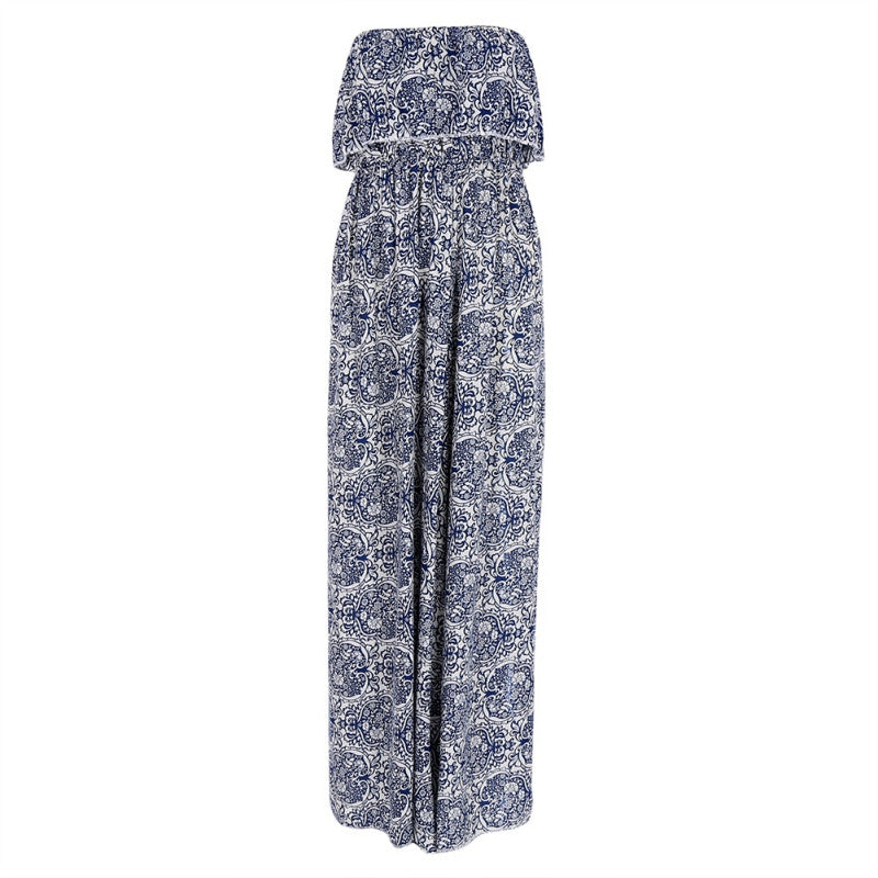 Best Seller! Strapless Floral Print Maxi Dress