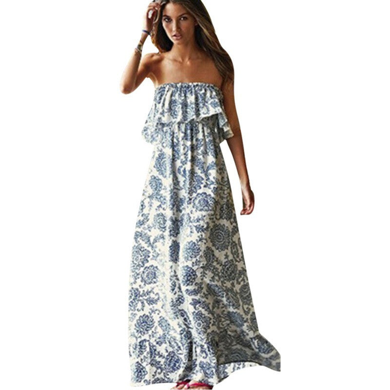 Best Seller Strapless Floral Print Maxi Dress Zarinz