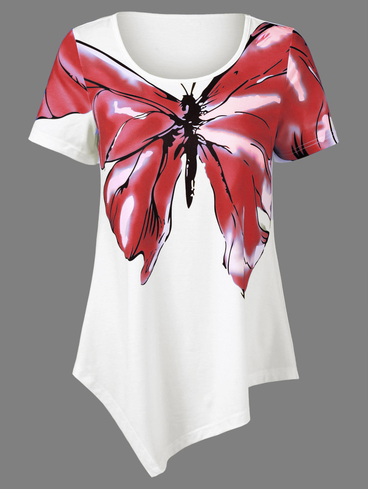 Butterfly Print Short Sleeve Tops