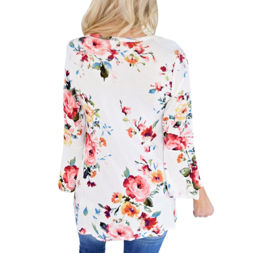 Casual Floral Printing Long Flare Sleeve Tee