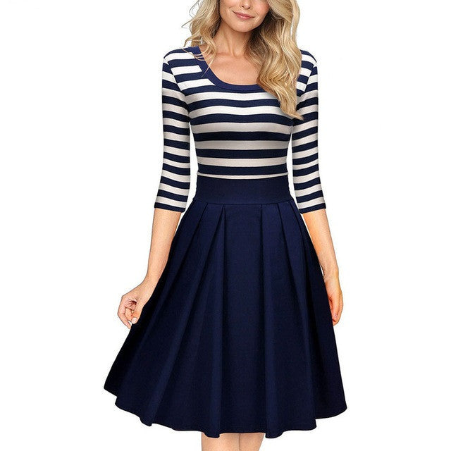 Striped Fit & Flare Dress