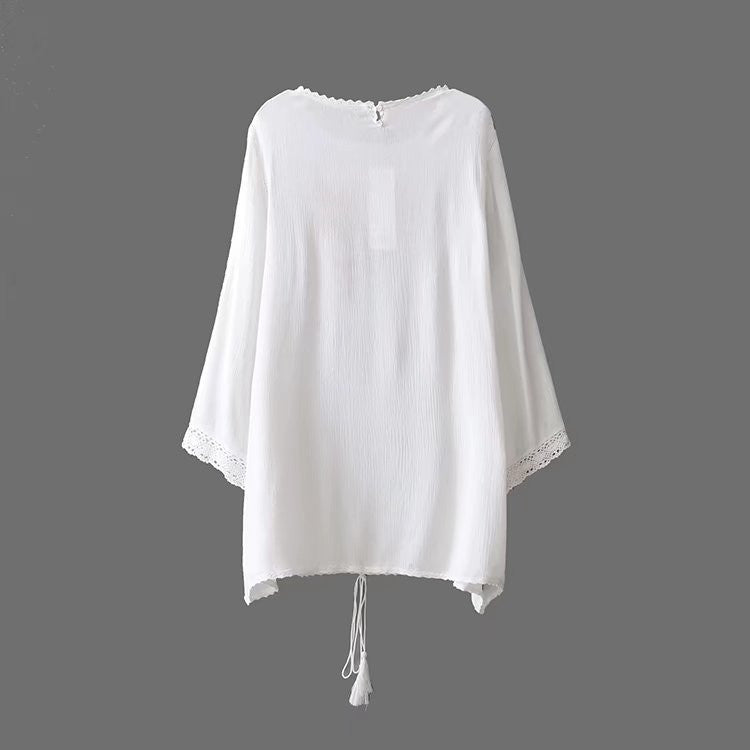 Long Sleeve Embroidery Front Tunic