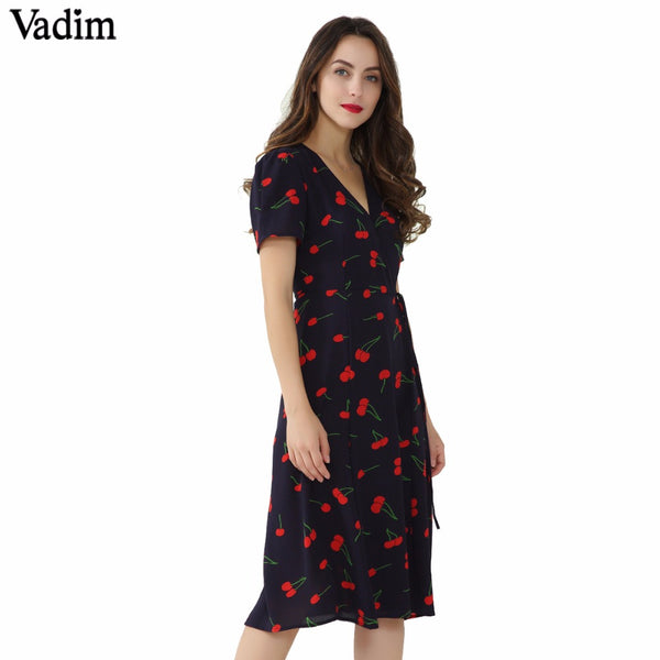 V Neck Pattern Midi Dress
