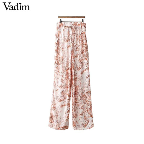 Floral Print Elastic Bow Tie Trousers