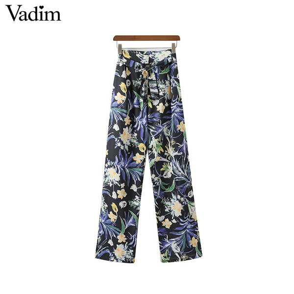 Floral Print Bow Tie Trousers