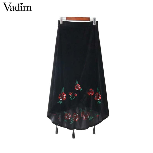 Velvet Floral Embroidery Skirt