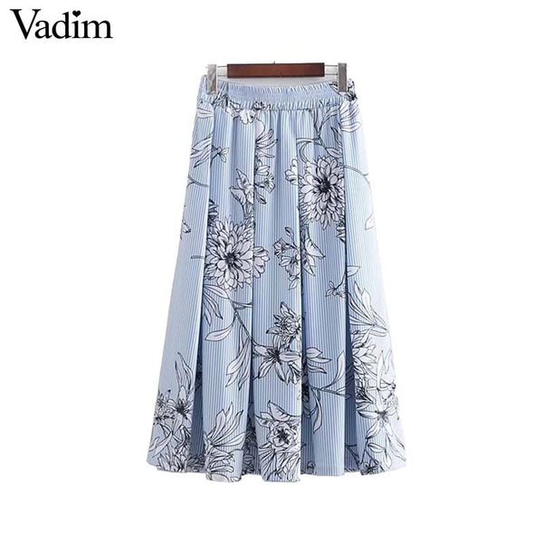 Floral Striped Pleated Skirts
