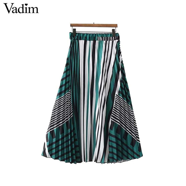 Striped midi skirt elastic waist A line pleated ladies chic streetwear summer mid calf skirts BSQ761