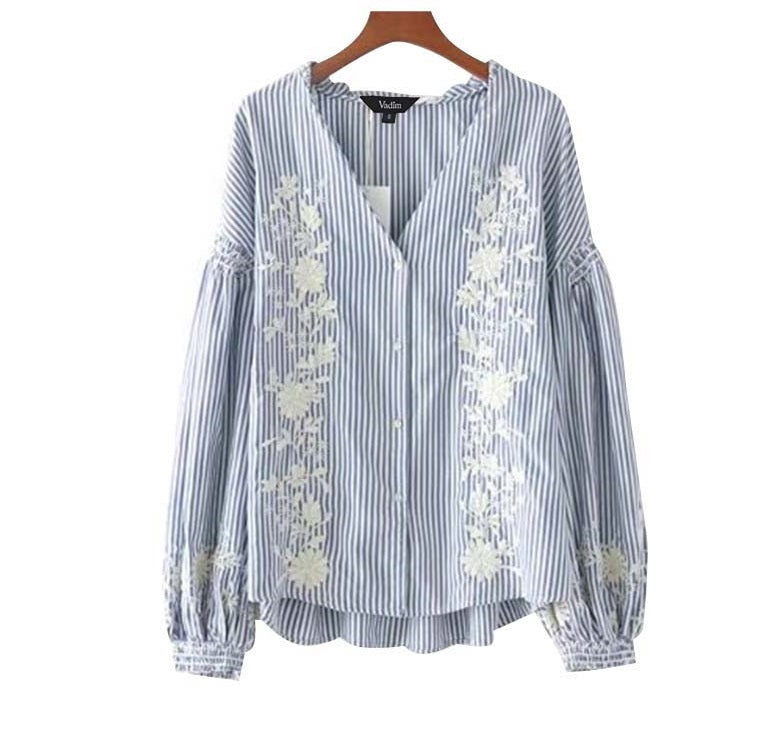 Best Seller! Floral Embroidered Pleated Blouse