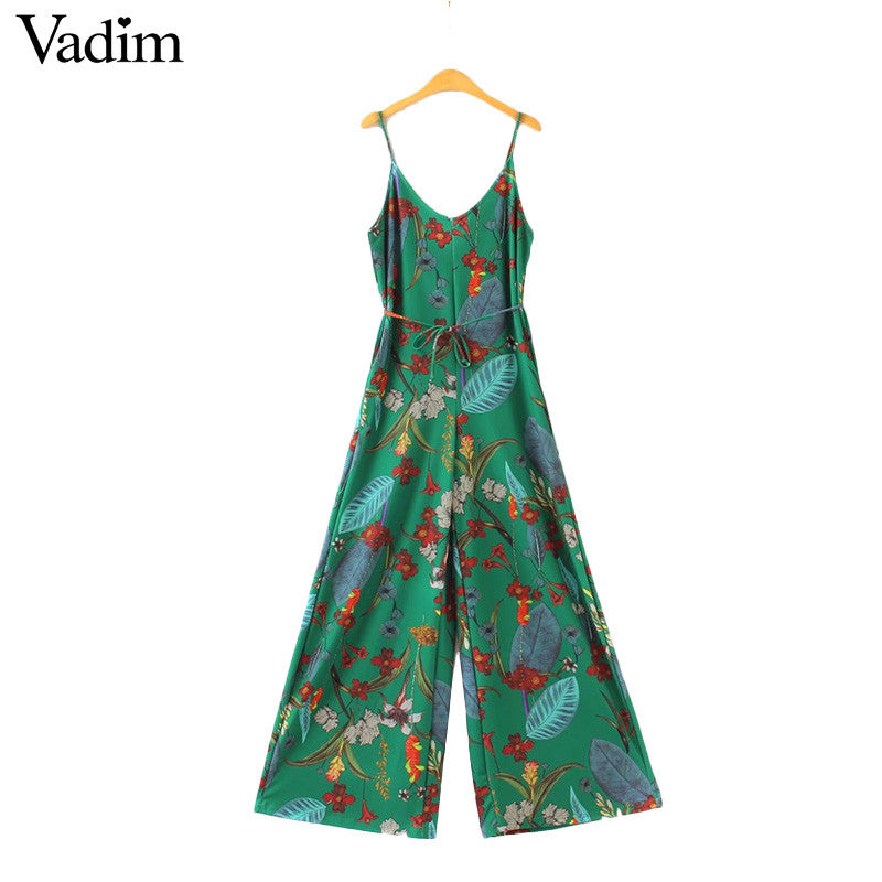 Loose Fitting Floral Jumpsuits with Spaghetti Strap