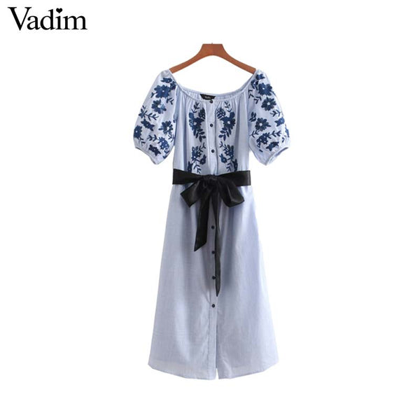 Off Shoulder Midi Dress Floral Embroidery Dress