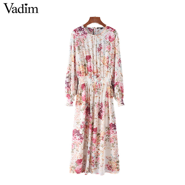 Floral Chiffon Dress with Elastic Waist