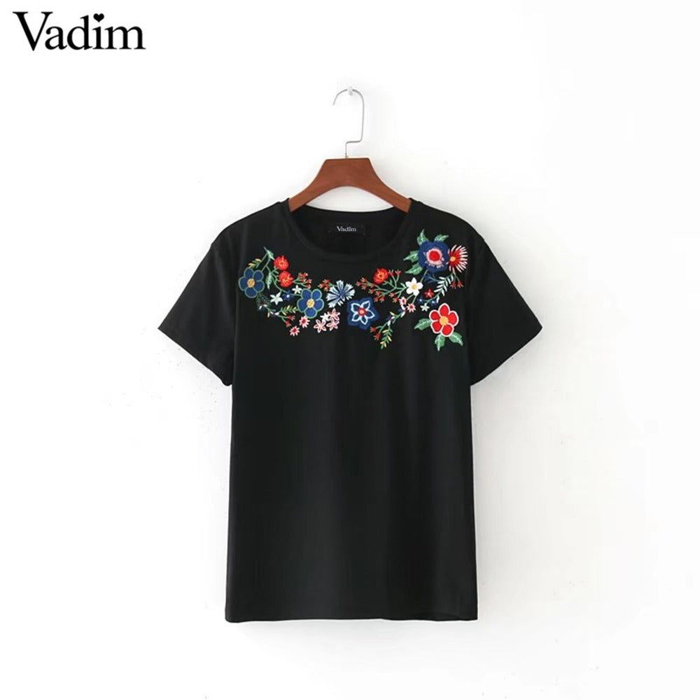 Floral Embroidery T shirt