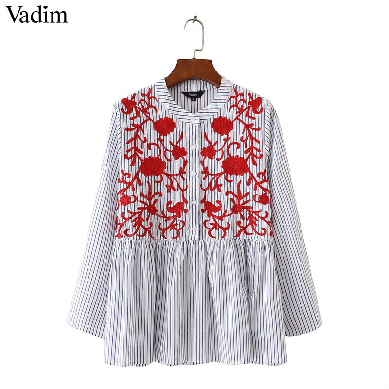Floral Embroidery Striped Three Quarter Sleeve