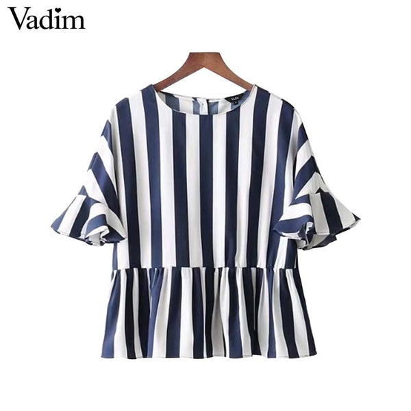 Ruffles Sleeve Striped Blouse