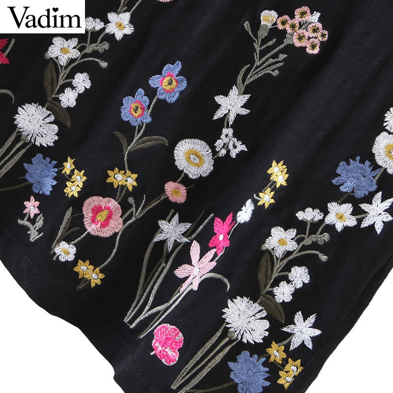 Short Sleeve Floral Embroidery Tops