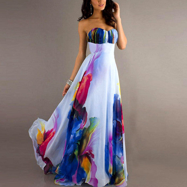 Vintage Strapless Long Maxi Dress