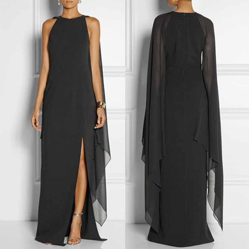 Solid Dress with Long-Sleeved Cape Open Sleeve High Slit Plain Chiffon Maxi Dress